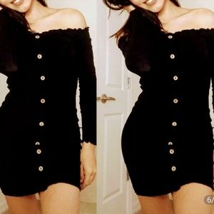 Sexy black shoulder off button up Fall Dress